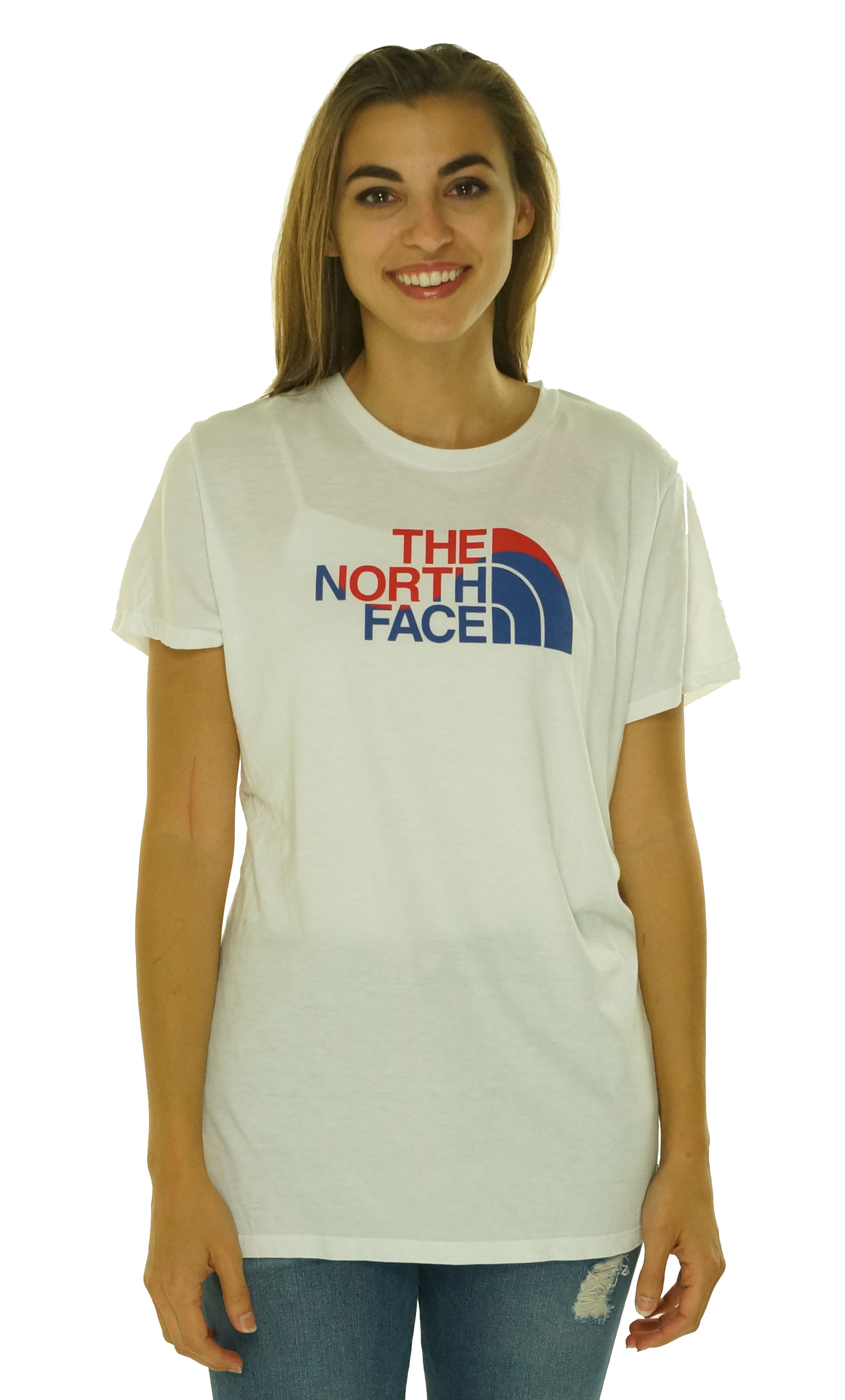 The-North-Face-Women-039-s-Short-Sleeve-Crew-Neck-Graphic-Tee-White-Size-XL